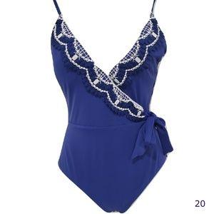 Becca Blue Delilah Tie Waist One Piece Swim Suit